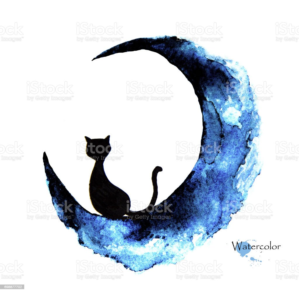 Hand drawn watercolor painting of black cat sitting on the moon vector art illustration
