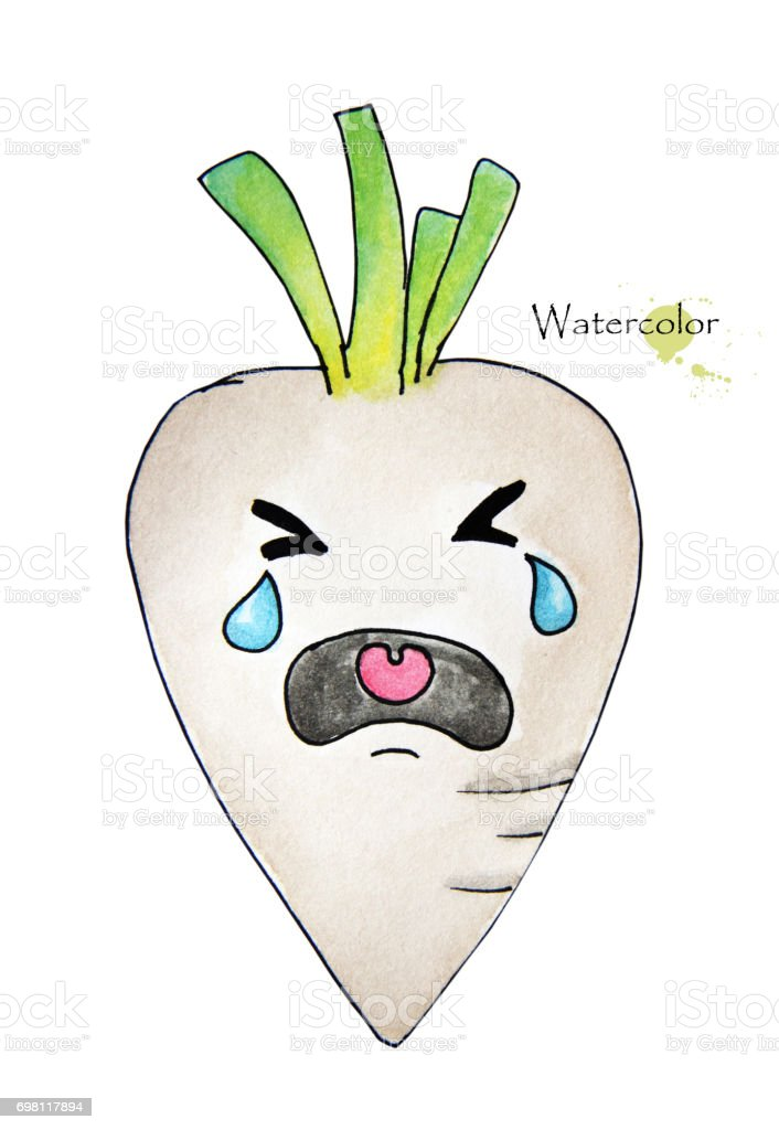Hand drawn watercolor painting of crying white radish isolated on white background vector art illustration