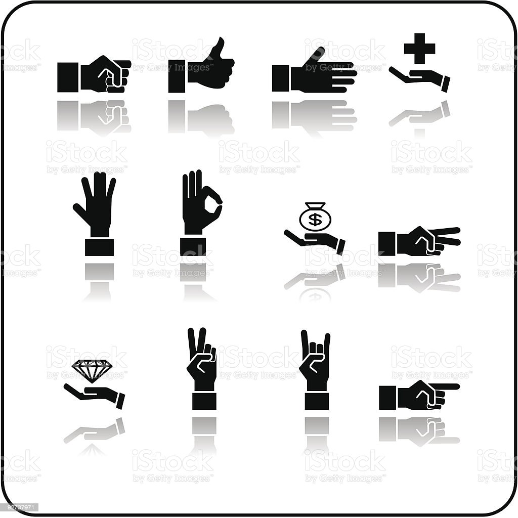 Hand elements icon set royalty-free stock vector art