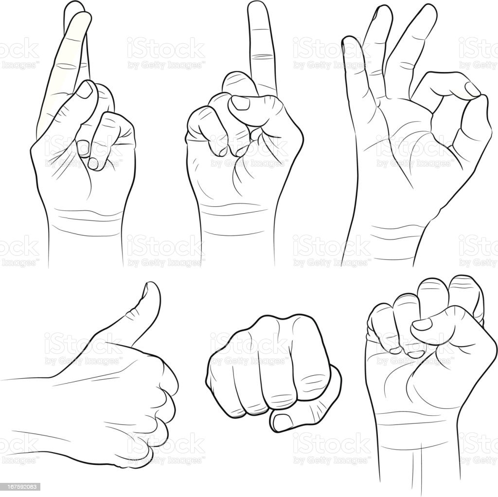 Hand Gestures Collection vector art illustration