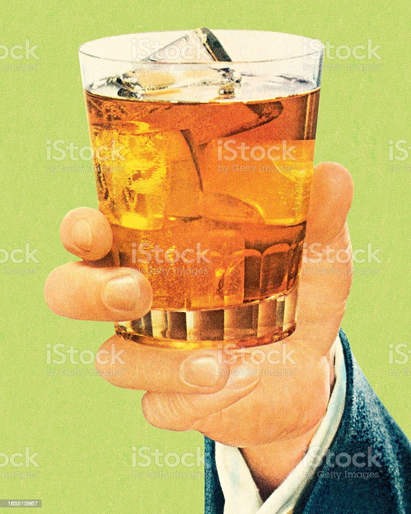 Hand Holding a Cocktail vector art illustration