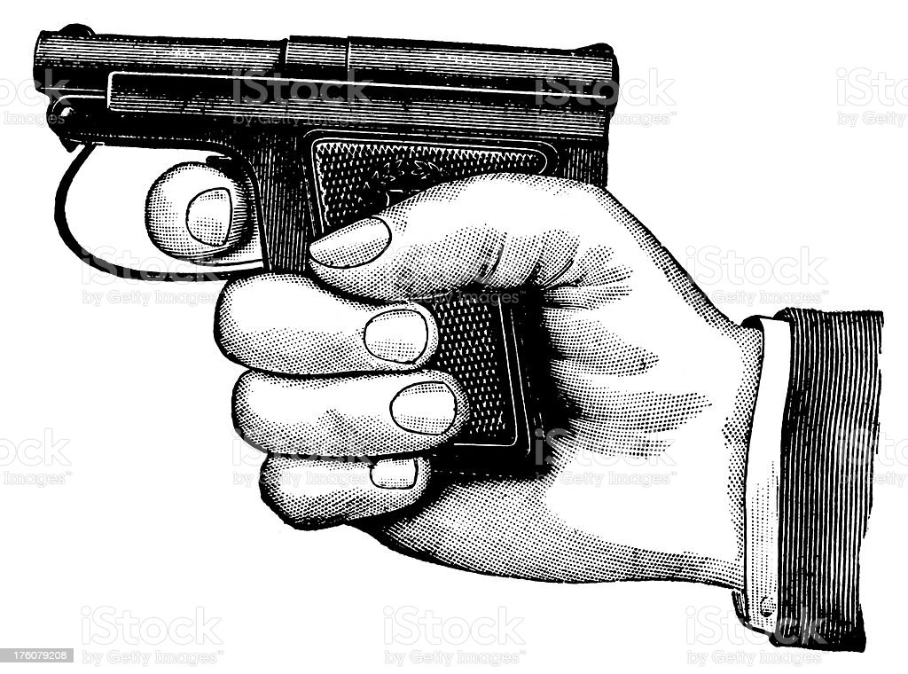 Hand holding a pistol | Antique Design Illustrations royalty-free stock vector art