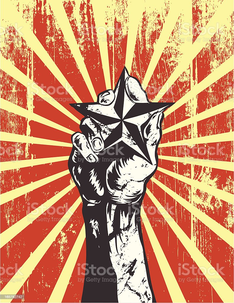 Hand holding a star vector art illustration