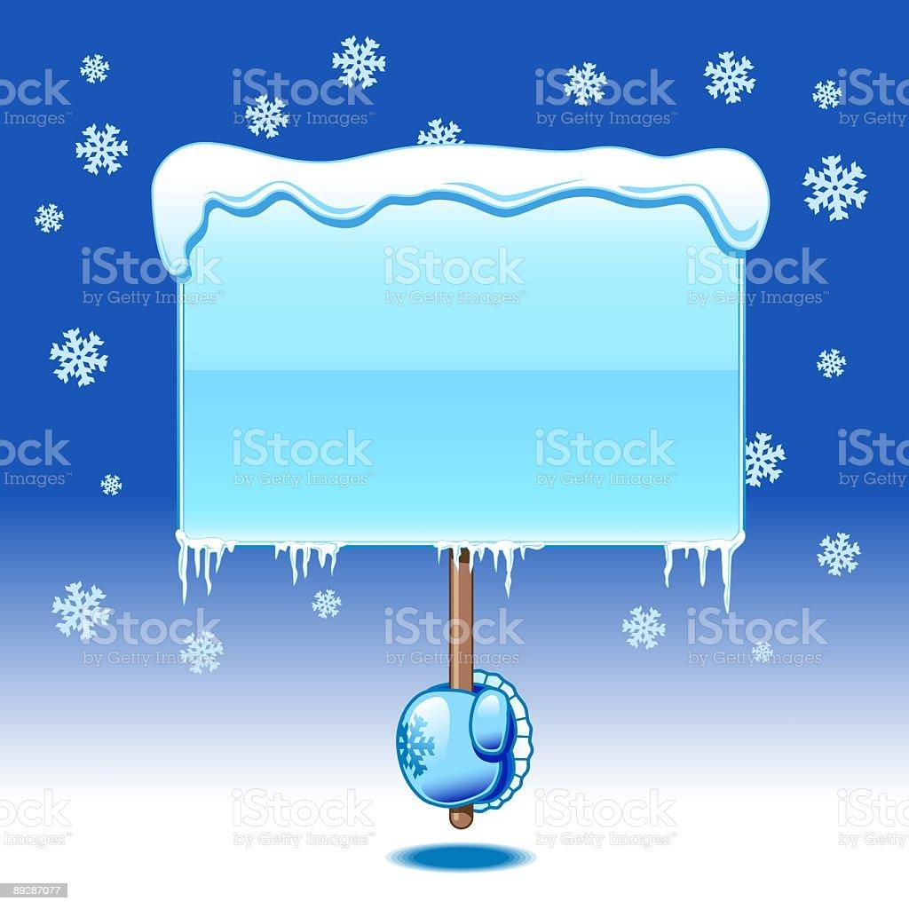 Hand holding blank board - winter royalty-free stock vector art