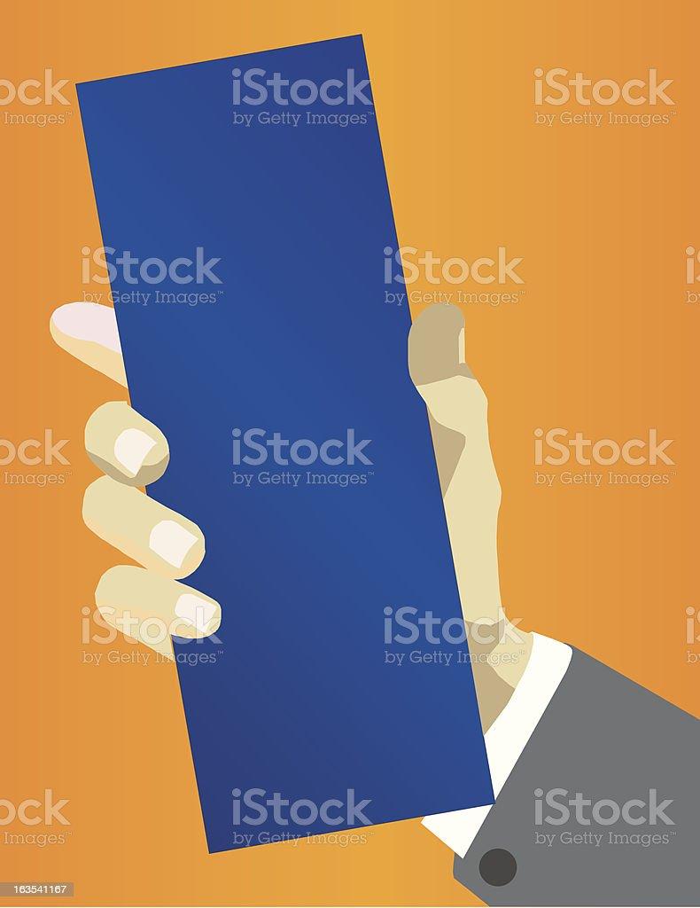 Hand Holding Blank Leaflet royalty-free stock vector art