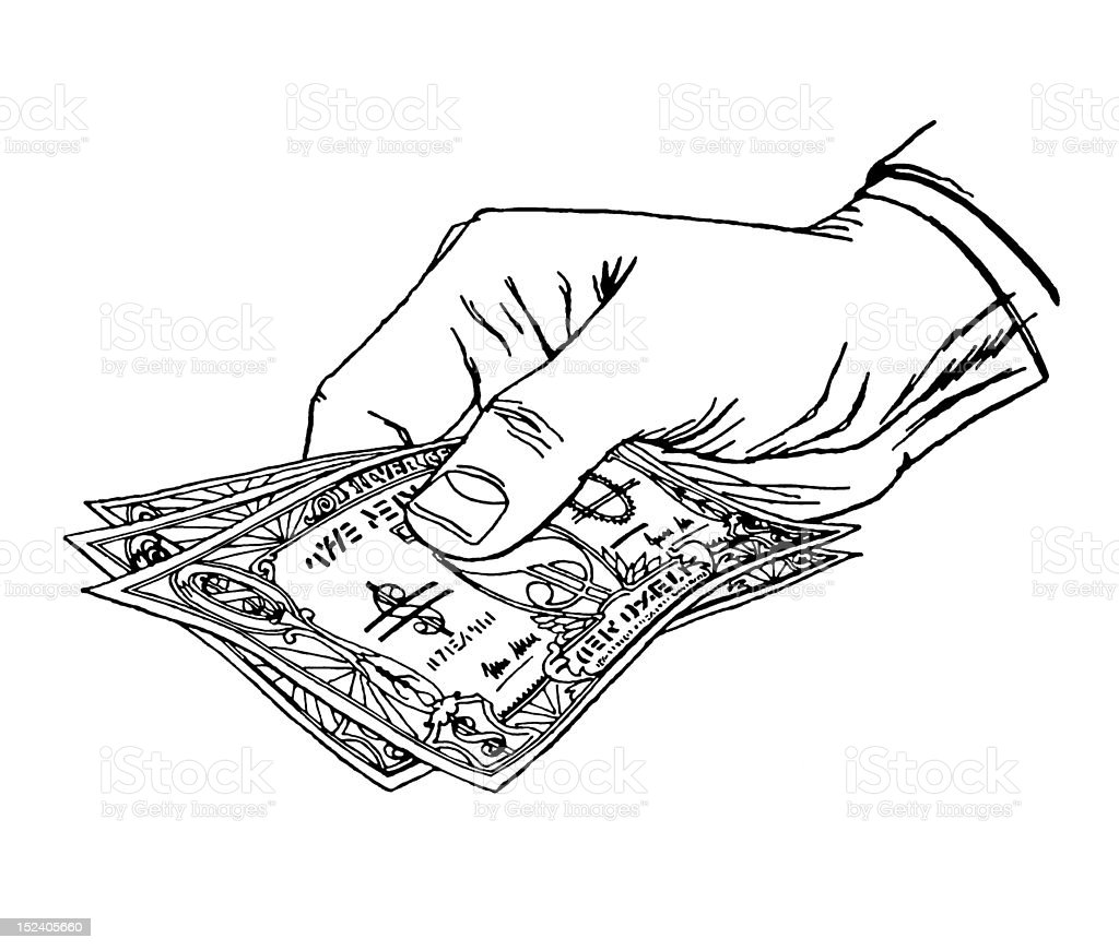 Hand Holding Cash royalty-free stock vector art