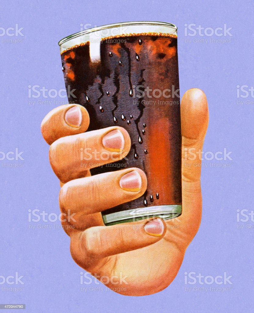 Hand Holding Glass of Cola vector art illustration
