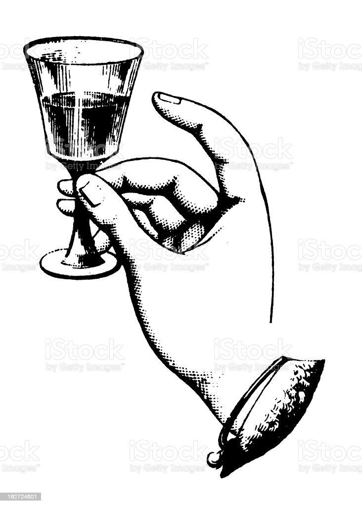 Hand Holding Glass Wine | Antique Design Illustrations vector art illustration