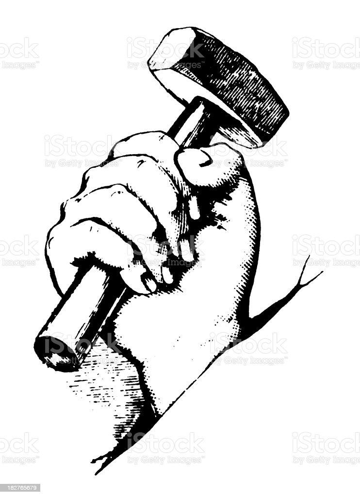 Hand Holding Hammer | Antique Design Illustrations vector art illustration