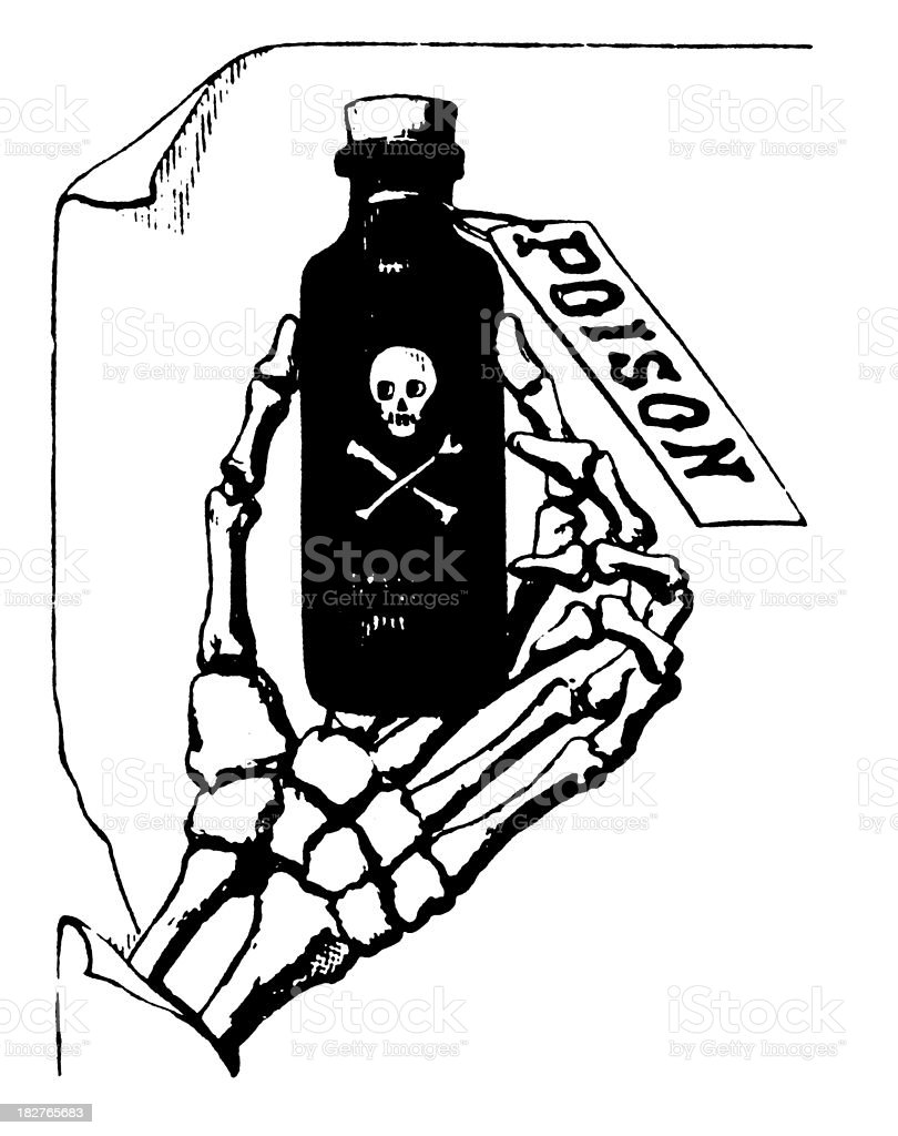 Hand Holding Poison Bottle   Antique Design Illustrations royalty-free stock vector art