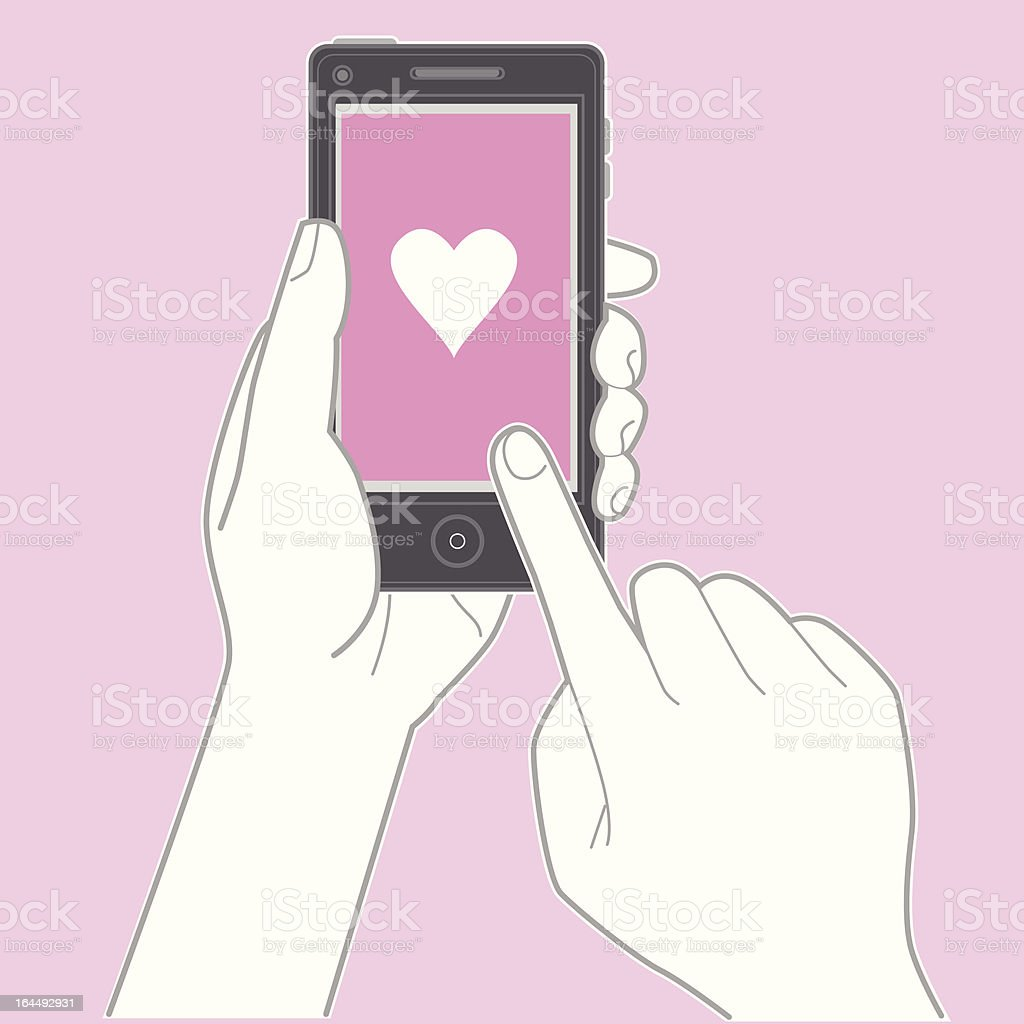 Hand holding smartphone and touching the screen vector art illustration