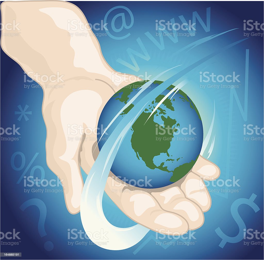 Hand holding the world royalty-free stock vector art