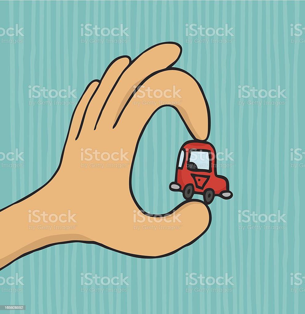 Hand holding tiny car vector art illustration