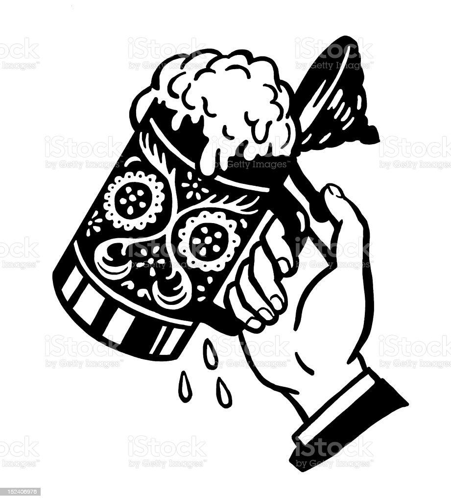 Hand Lifting Stein vector art illustration