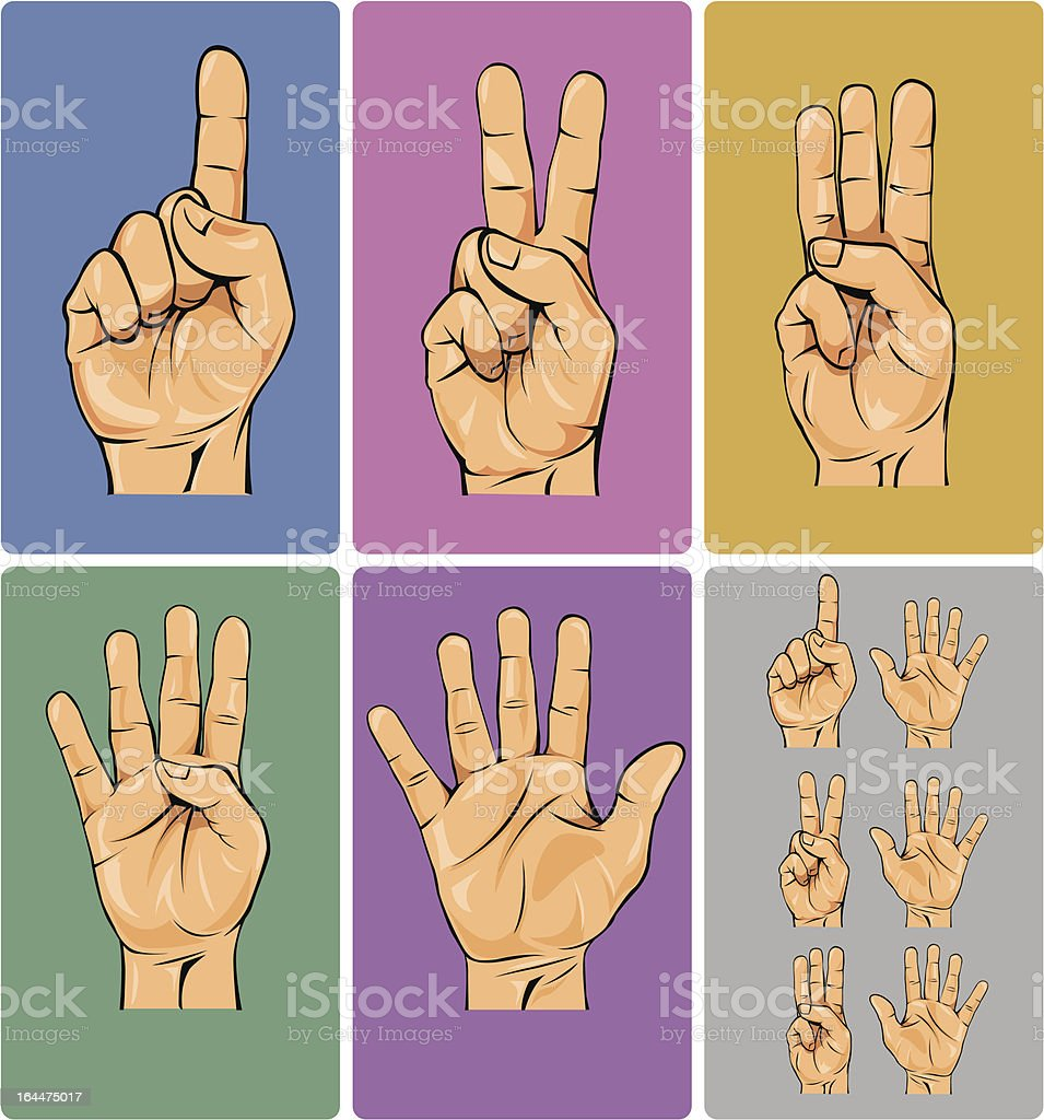 Hand Numbers vector art illustration
