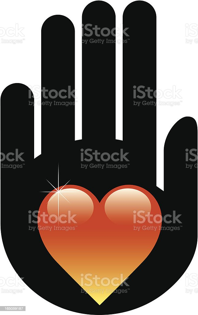 Hand on heart vector art illustration