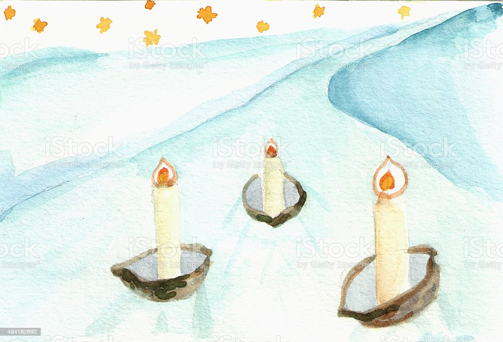 Hand painted christmas candles vector art illustration