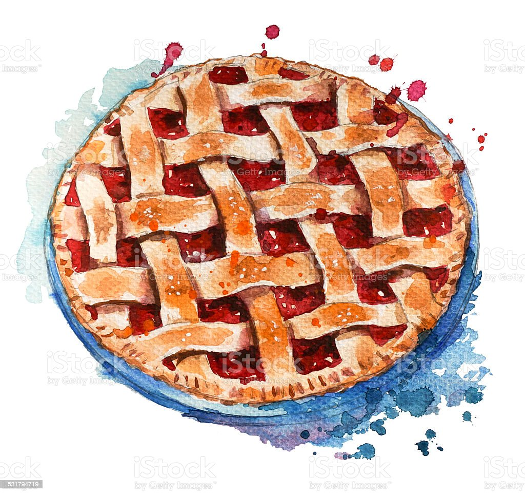 Hand painted home made berry pie. Watercolor sketch. vector art illustration