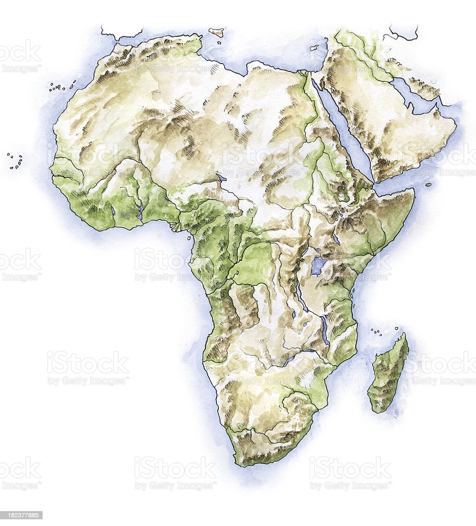 Hand painted map of Africa vector art illustration