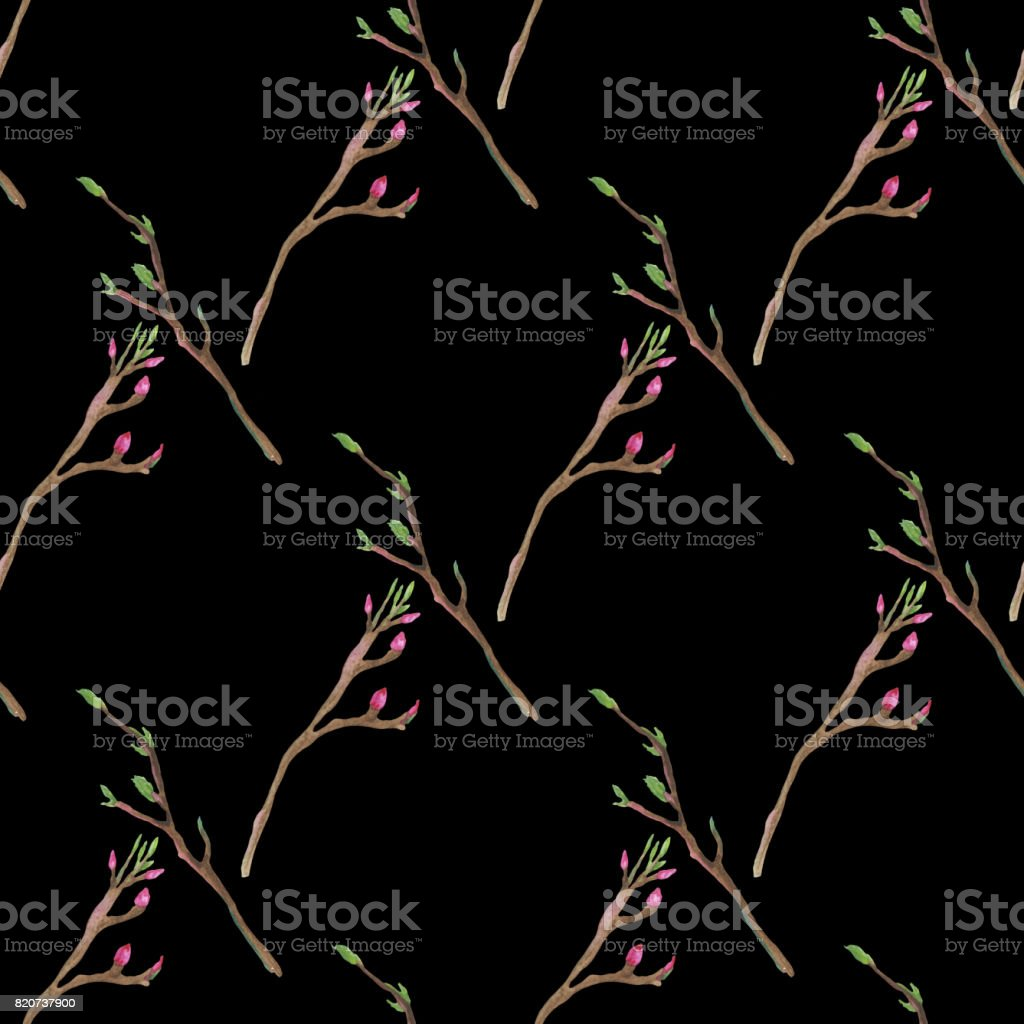 Hand painted pattern with green branches and pink flowers vector art illustration