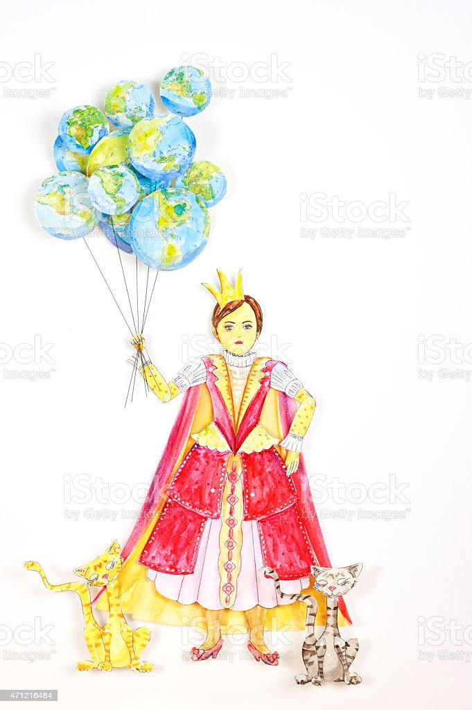 Hand Painted Queen Paper Doll With Globe Balloons stock vector art ...