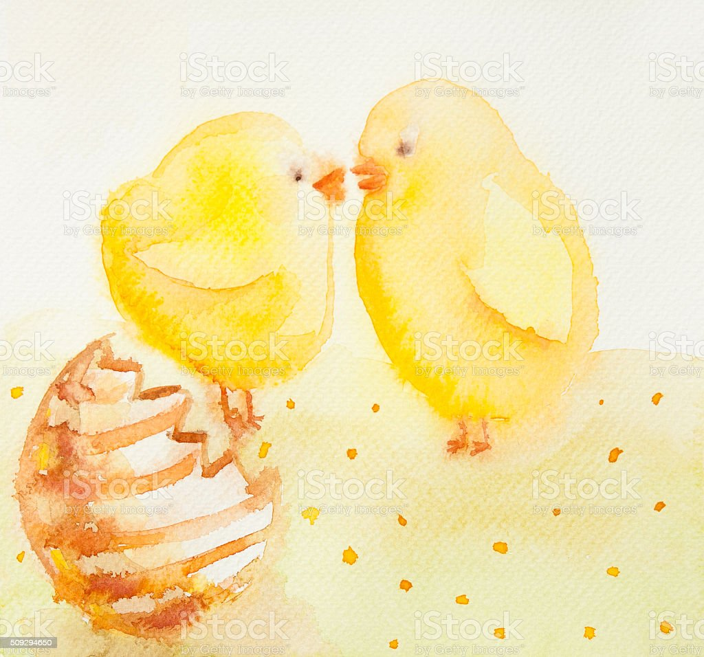 Hand painted watercolor illustration of easter scene with easter vector art illustration