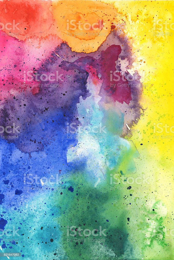 Hand Painted Watercolor Textured Background in Rainbow Colors vector art illustration