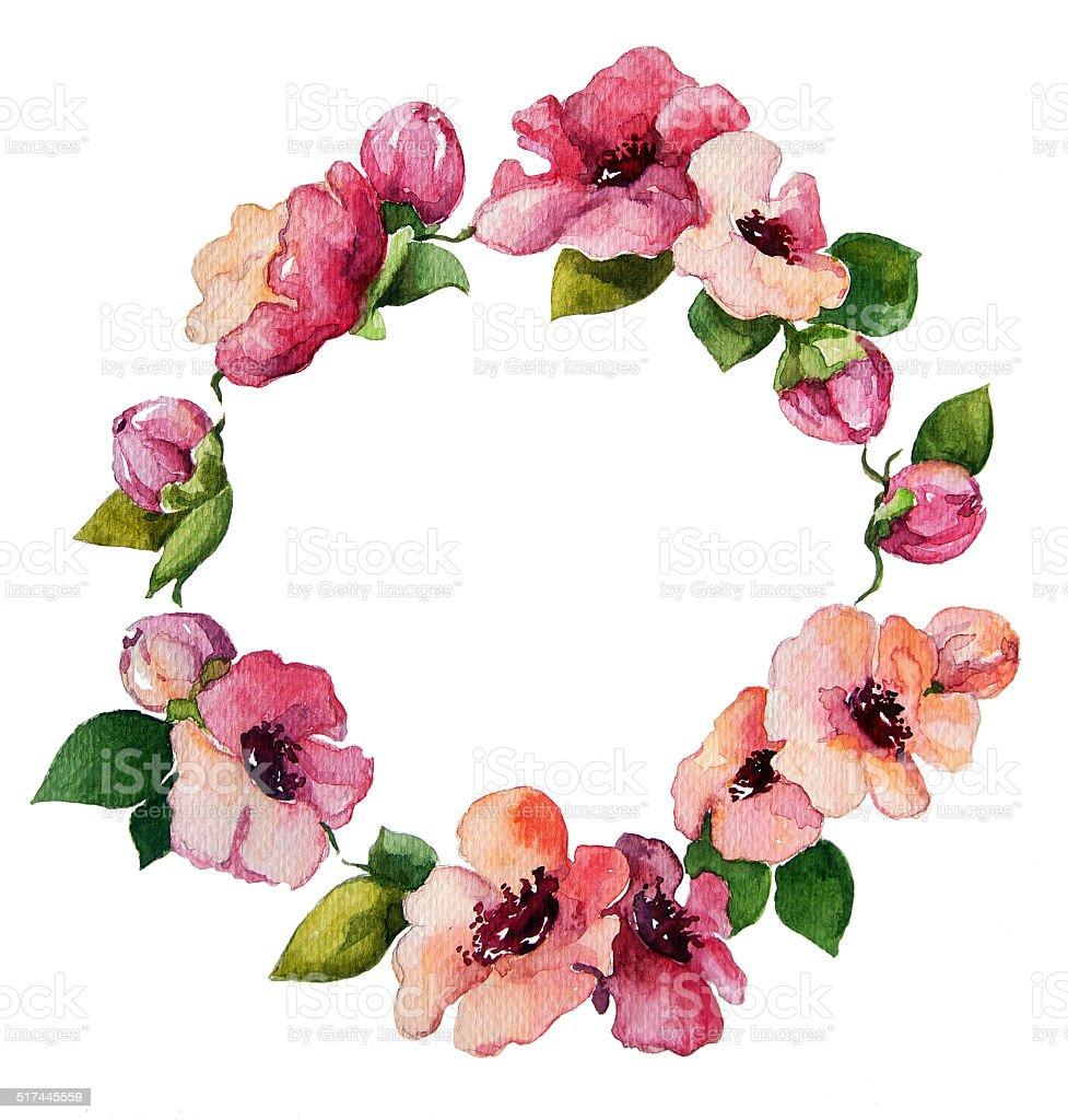 hand painted watercolor wreath. Flower decoration. Floral design. vector art illustration