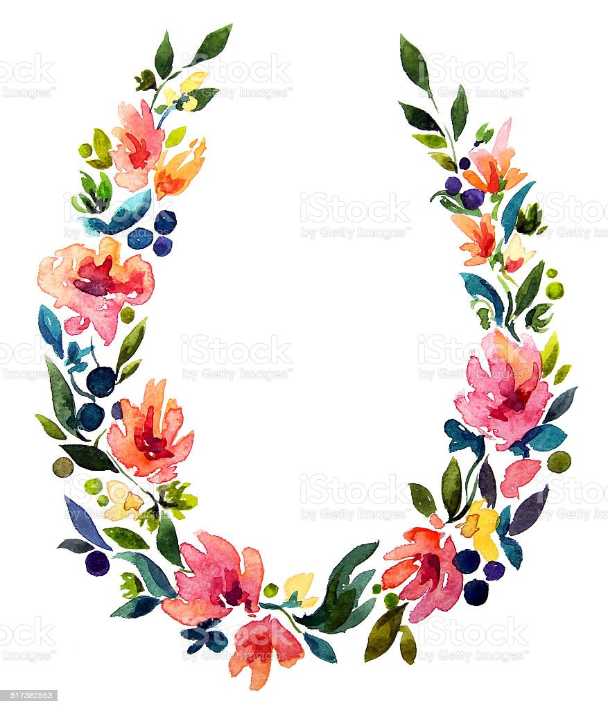 hand painted watercolor wreath. Flower decoration. vector art illustration