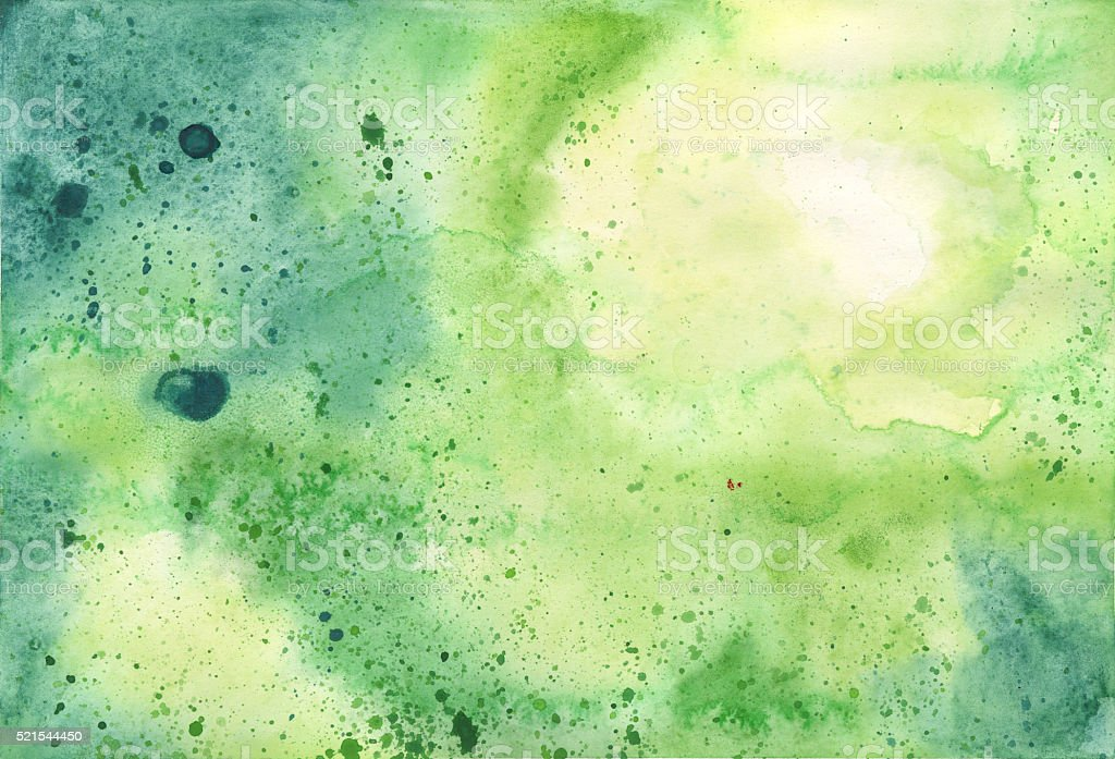 Hand Painted Yellow and Green Watercolor Textured Background vector art illustration
