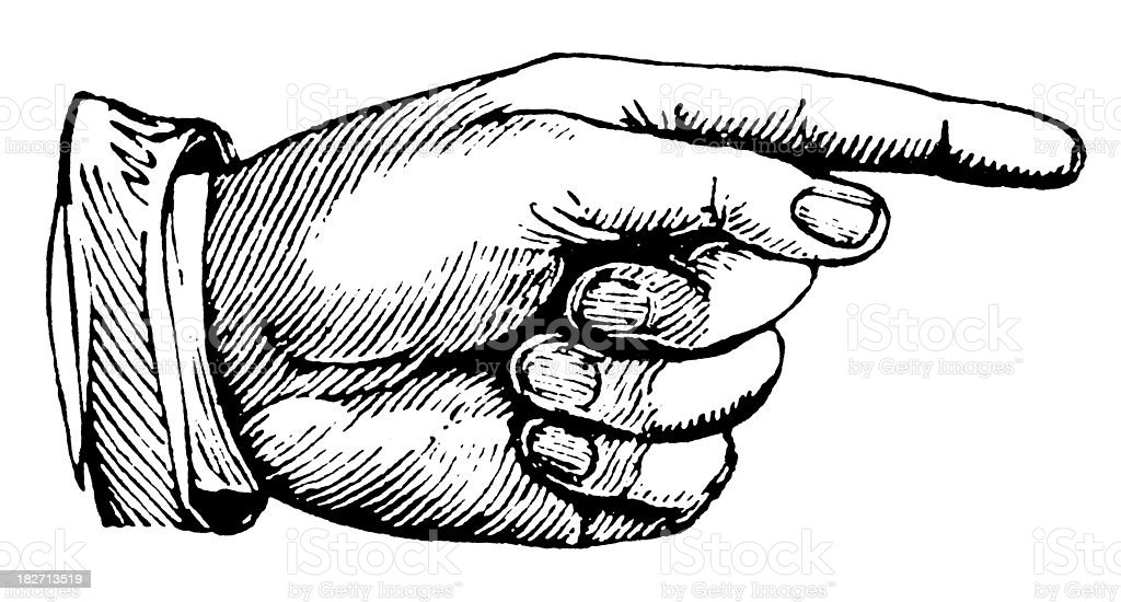 Hand pointing right | Antique Design Illustrations vector art illustration