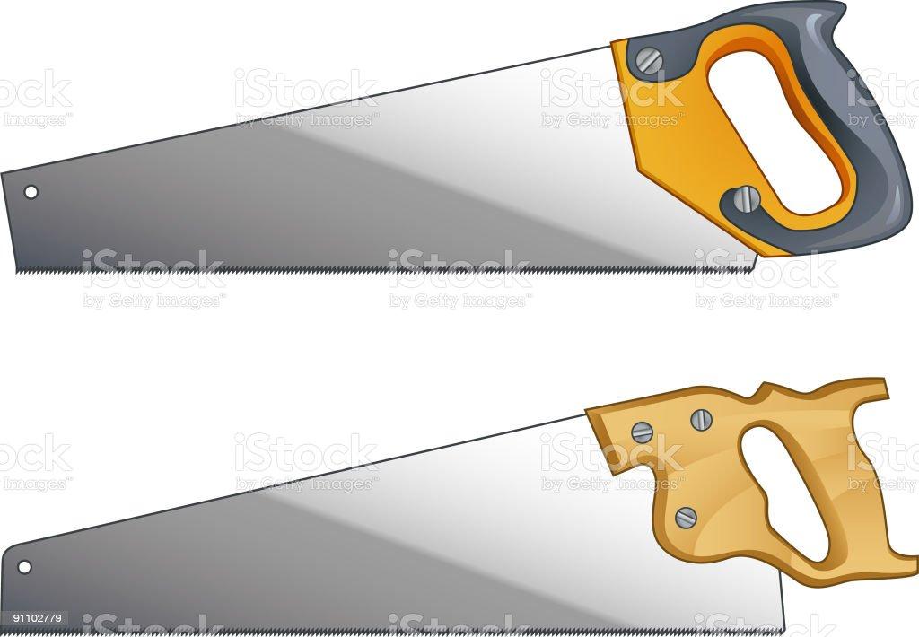 Hand saws vector art illustration