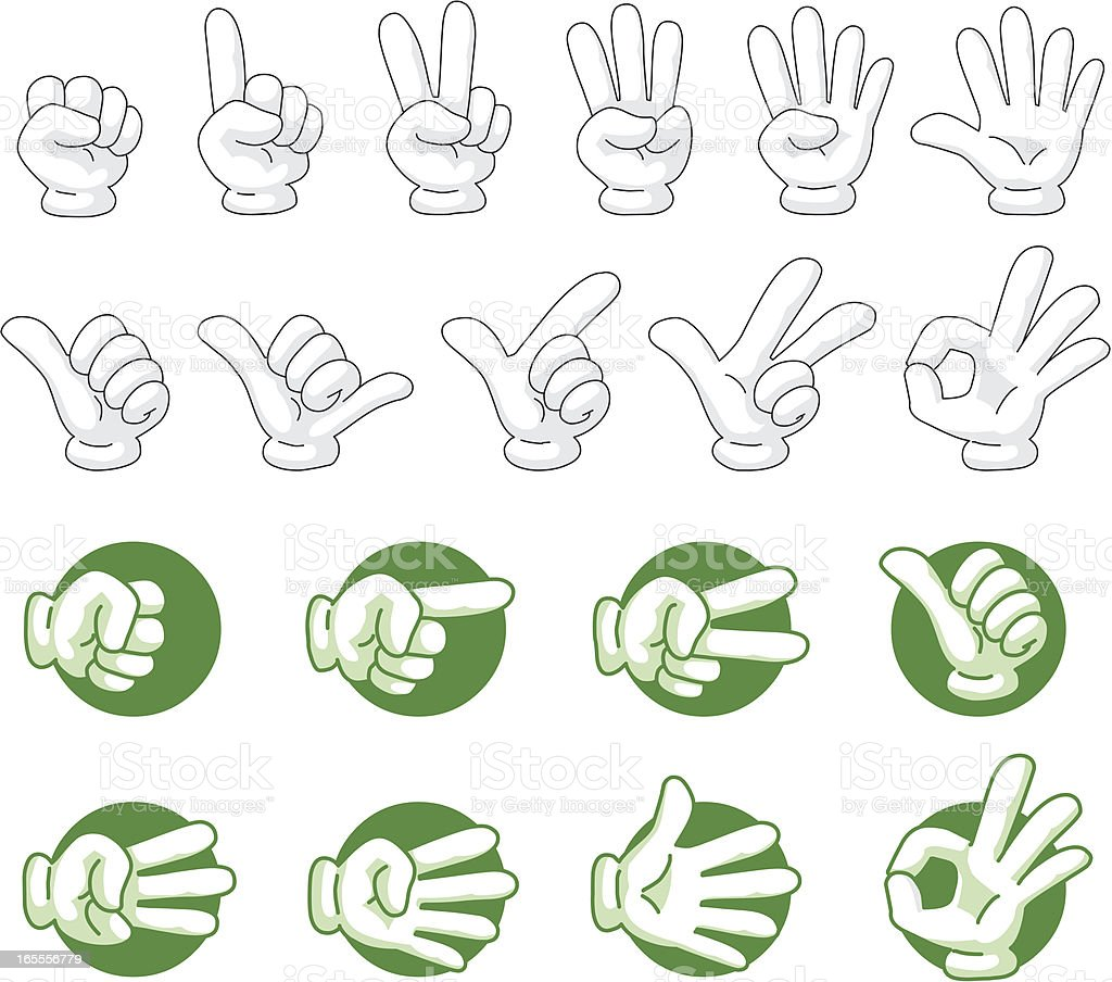 Hand shape icons with shadow vector art illustration