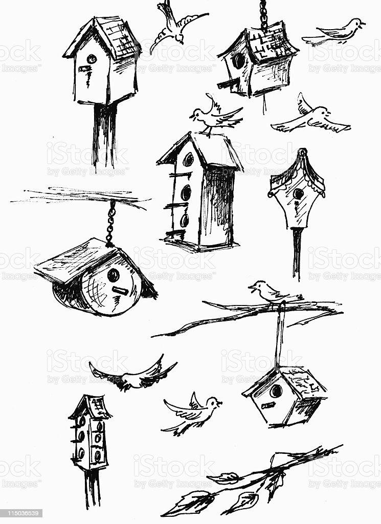 Hand Sketched Birdhouses vector art illustration