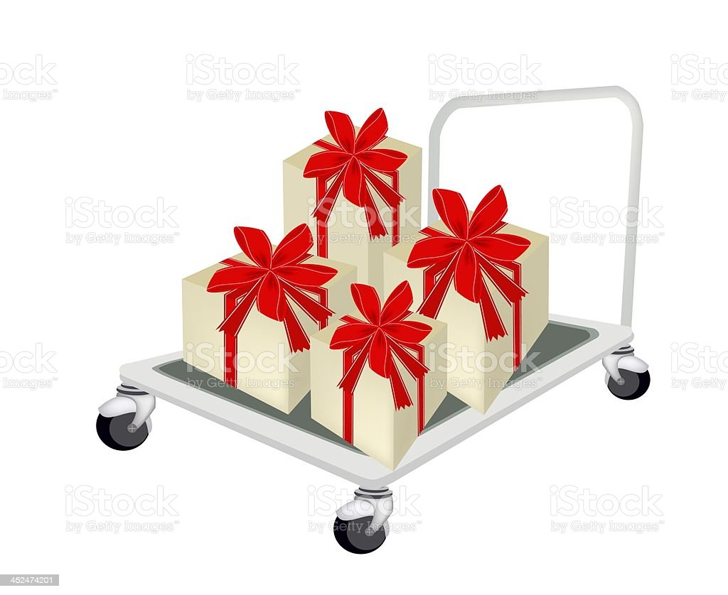 Hand Truck Loading A Lovely Gift Box royalty-free stock vector art