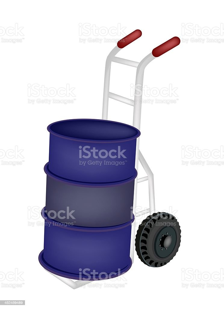 Hand Truck Loading An Oil Barrel royalty-free stock vector art