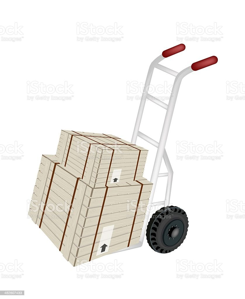 Hand Truck Loading Shipping Boxes with Steel Strapping royalty-free stock vector art