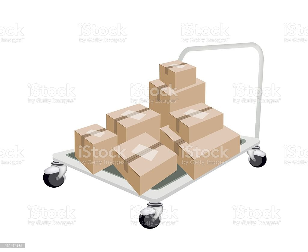 Hand Truck Loading Stack of Shipping Boxes royalty-free stock vector art