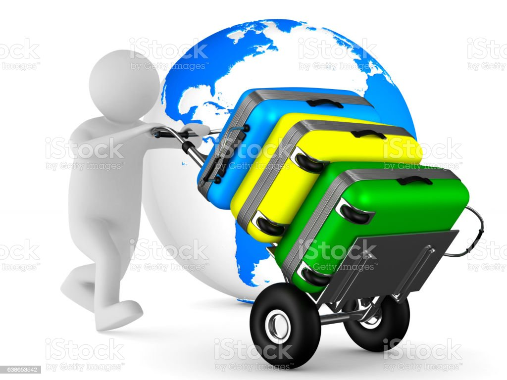hand truck with bags on white background. Isolated 3D image vector art illustration