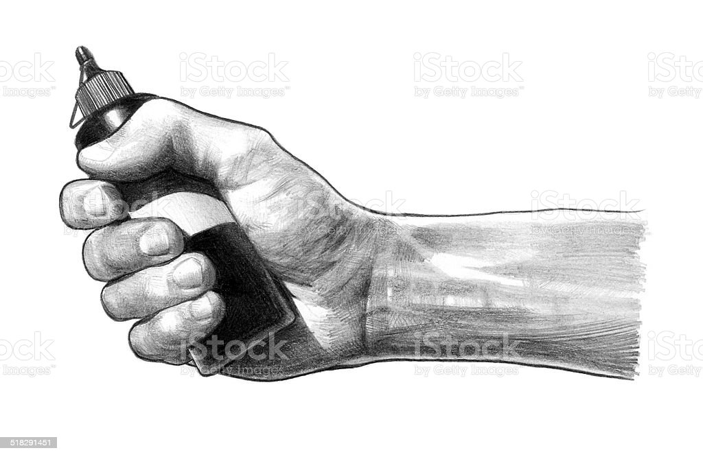 hand with a bottle vector art illustration