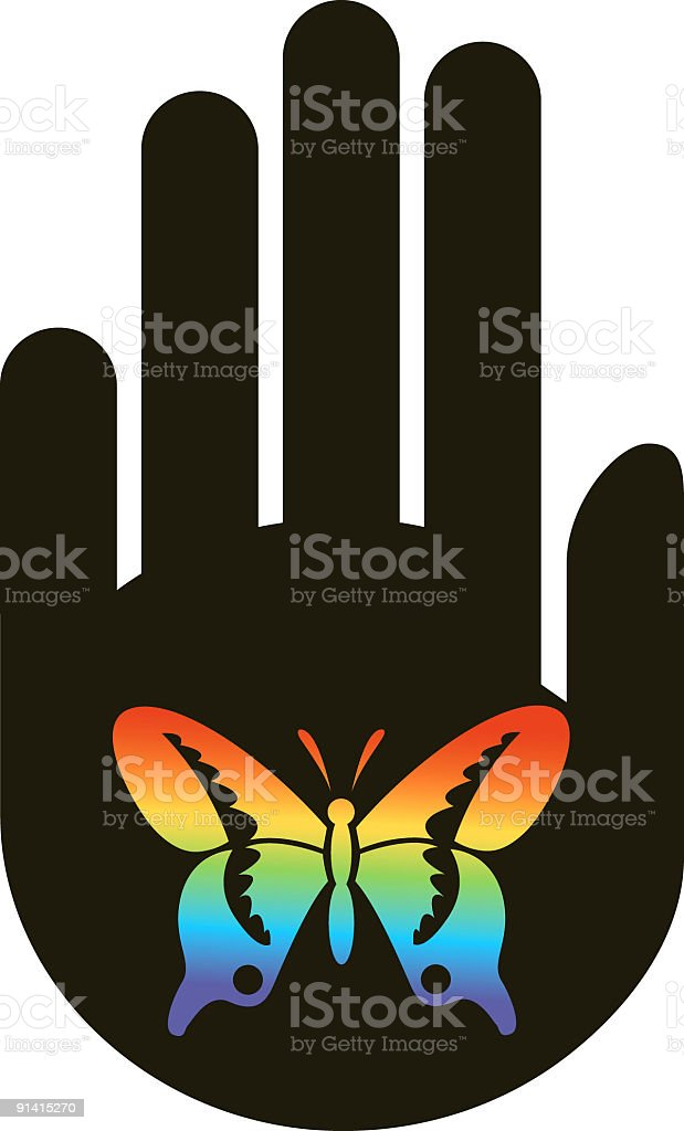 Hand with butterfly vector art illustration