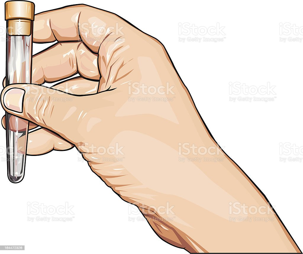 Hand with empty test-tube royalty-free stock vector art