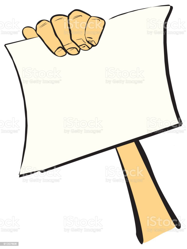 Hand with sheet of paper vector art illustration