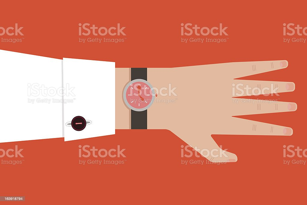 Hand with watch royalty-free stock vector art