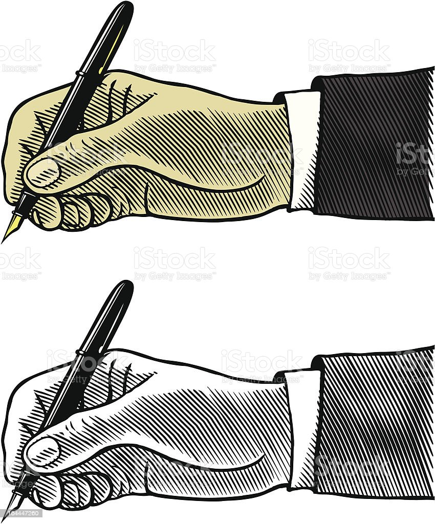 Hand writing with fountain pen vector art illustration