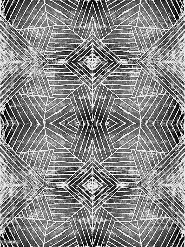 Handcut Linoleum Geometric Stripes Background Pattern vector art illustration