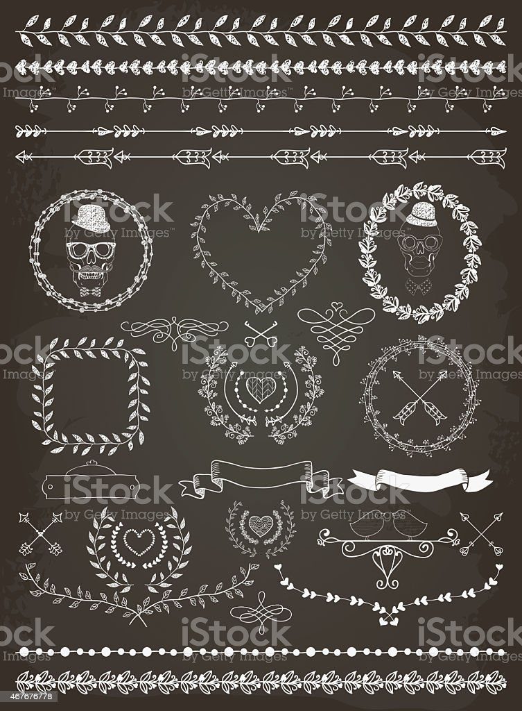 Hand-drawn banners and labels collection in white on black vector art illustration
