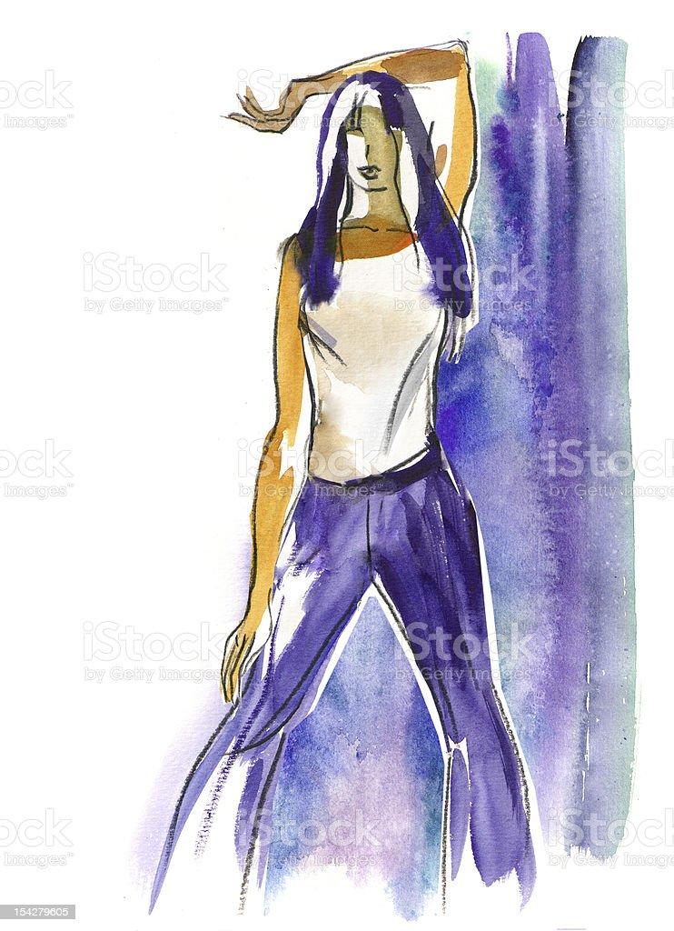 Hand-drawn fashion model royalty-free stock vector art