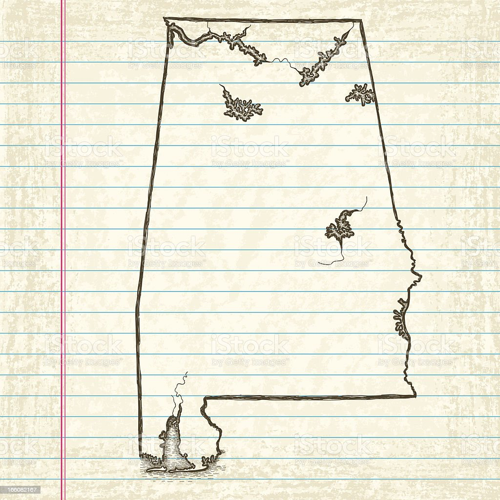 Hand-Drawn Map of Alabama vector art illustration