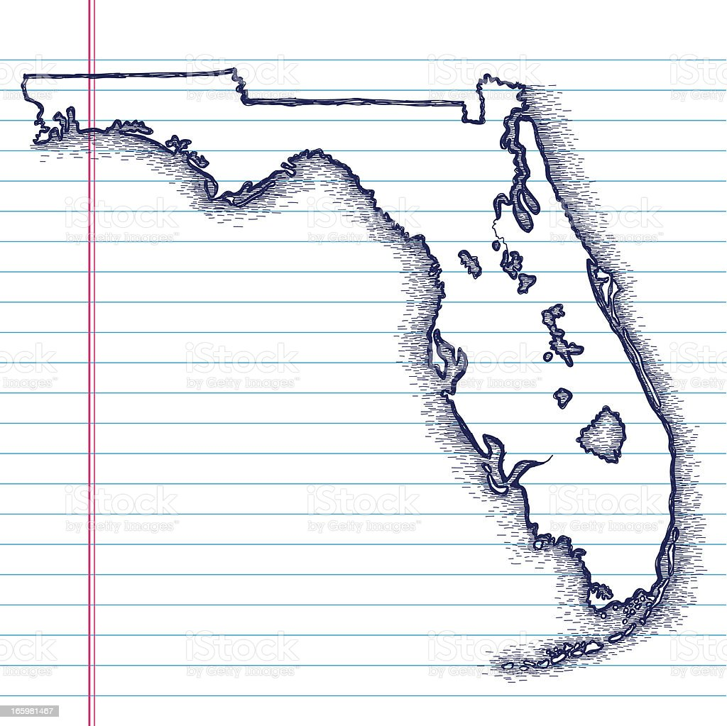 Handdrawn Map Of Florida Stock Vector Art IStock - Hand drawn us map vector
